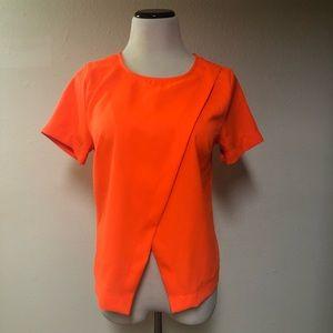 MINE Asymmetrical Crop Top Neon Orange Sz Large